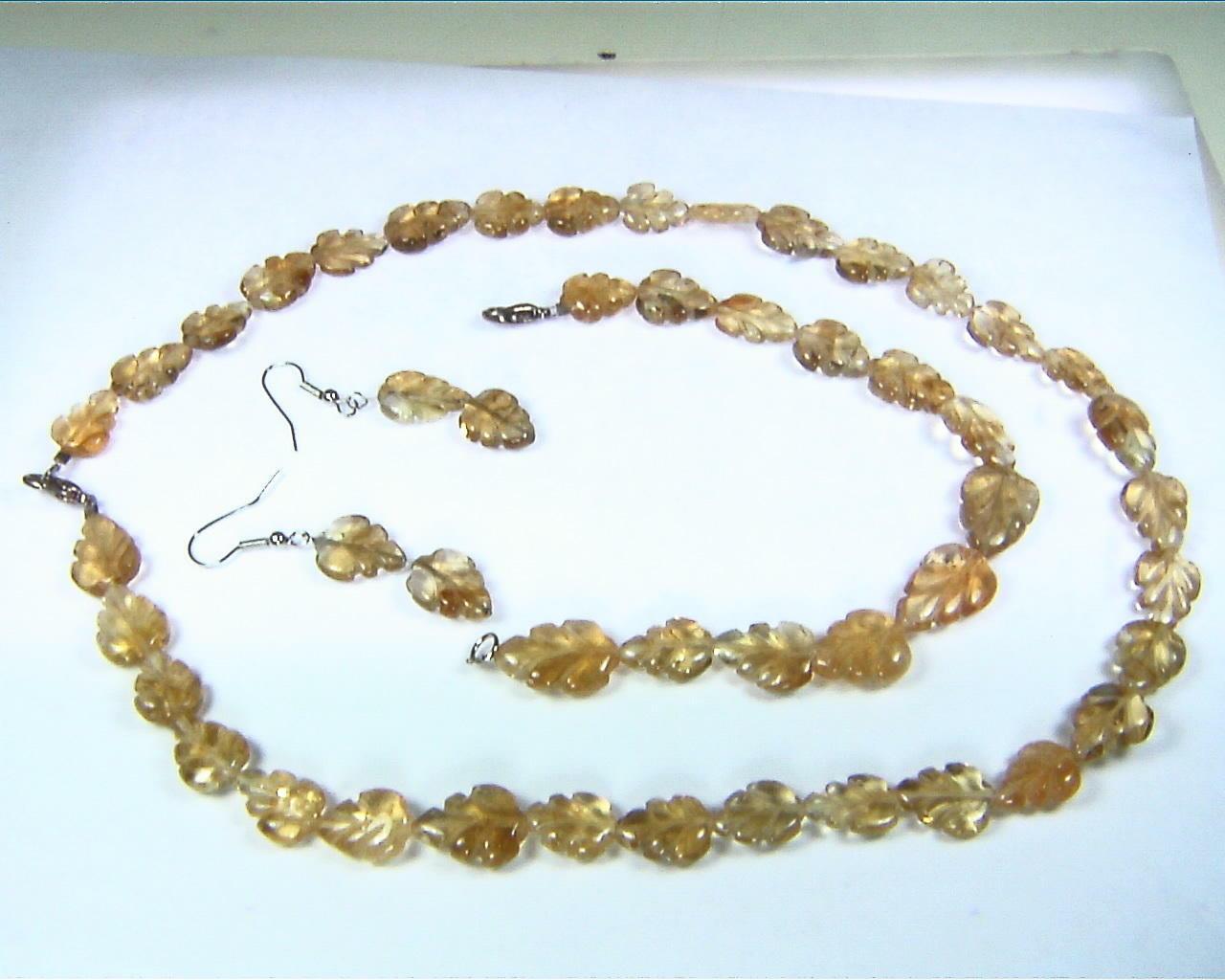 Citrine Carved Natural Genuine Leaf Shape Necklace
