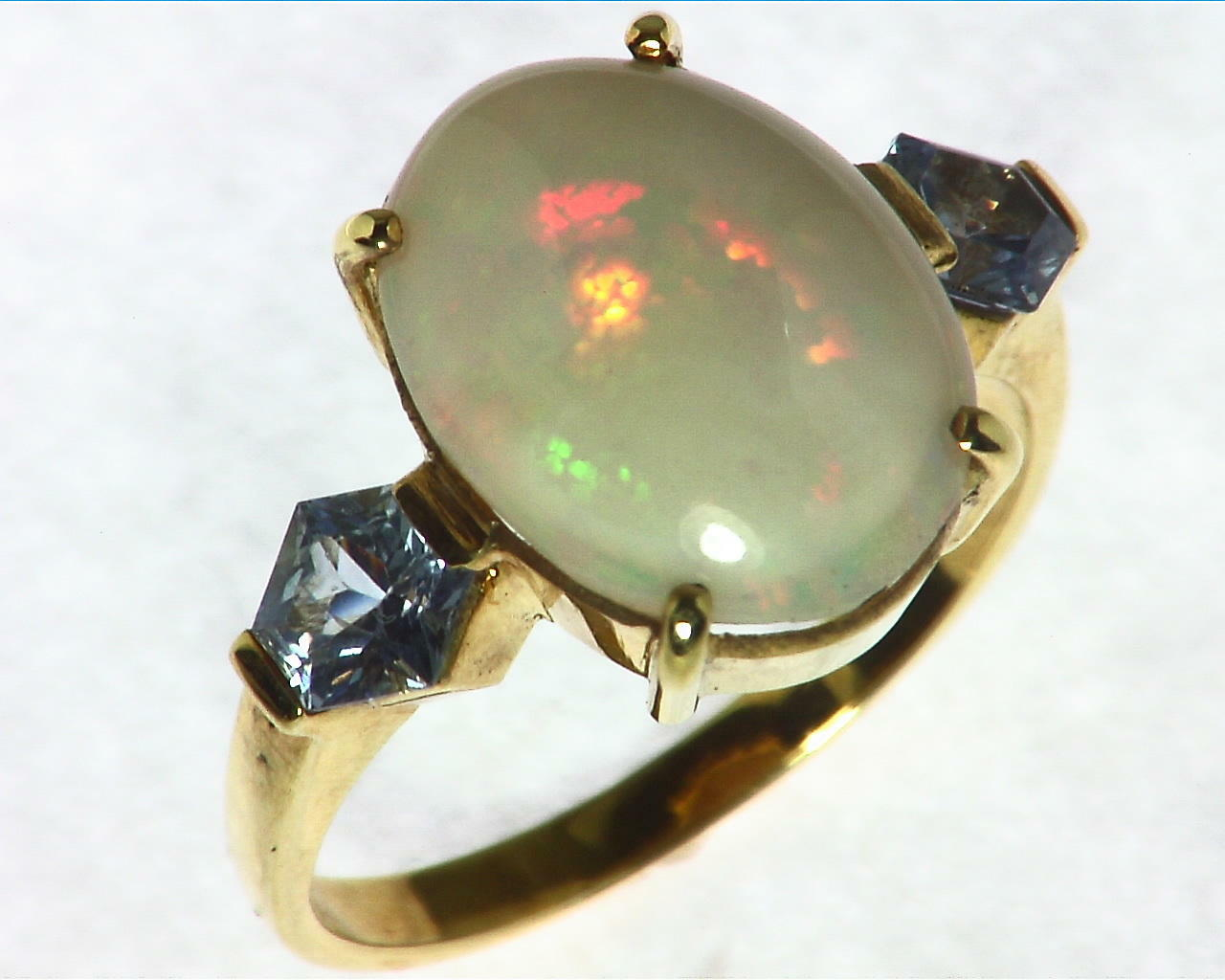 Opal Natural Genuine Gemstone set in 14kt yellow Gold Lady,s Ring RFK,297 6