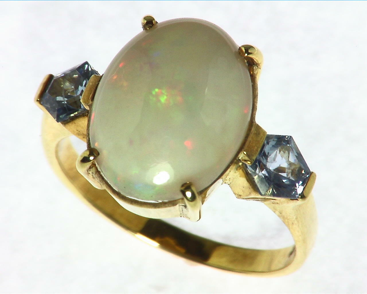 Opal Natural Genuine Gemstone set in 14kt yellow Gold Lady,s Ring RFK,297 5