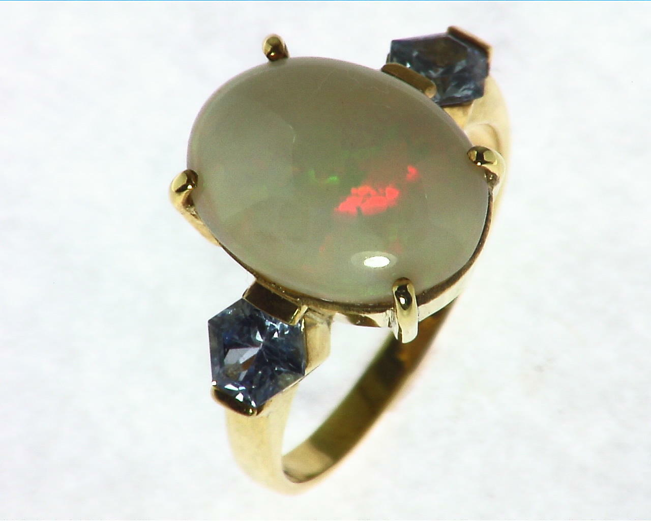 Opal Natural Genuine Gemstone set in 14kt yellow Gold Lady,s Ring RFK,297 2