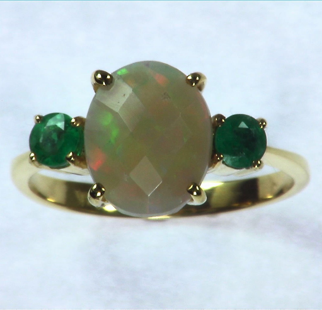 Opal Natural Genuine Gemstone set in 14kt yellow Gold Lady,s Ring RFK,295 1