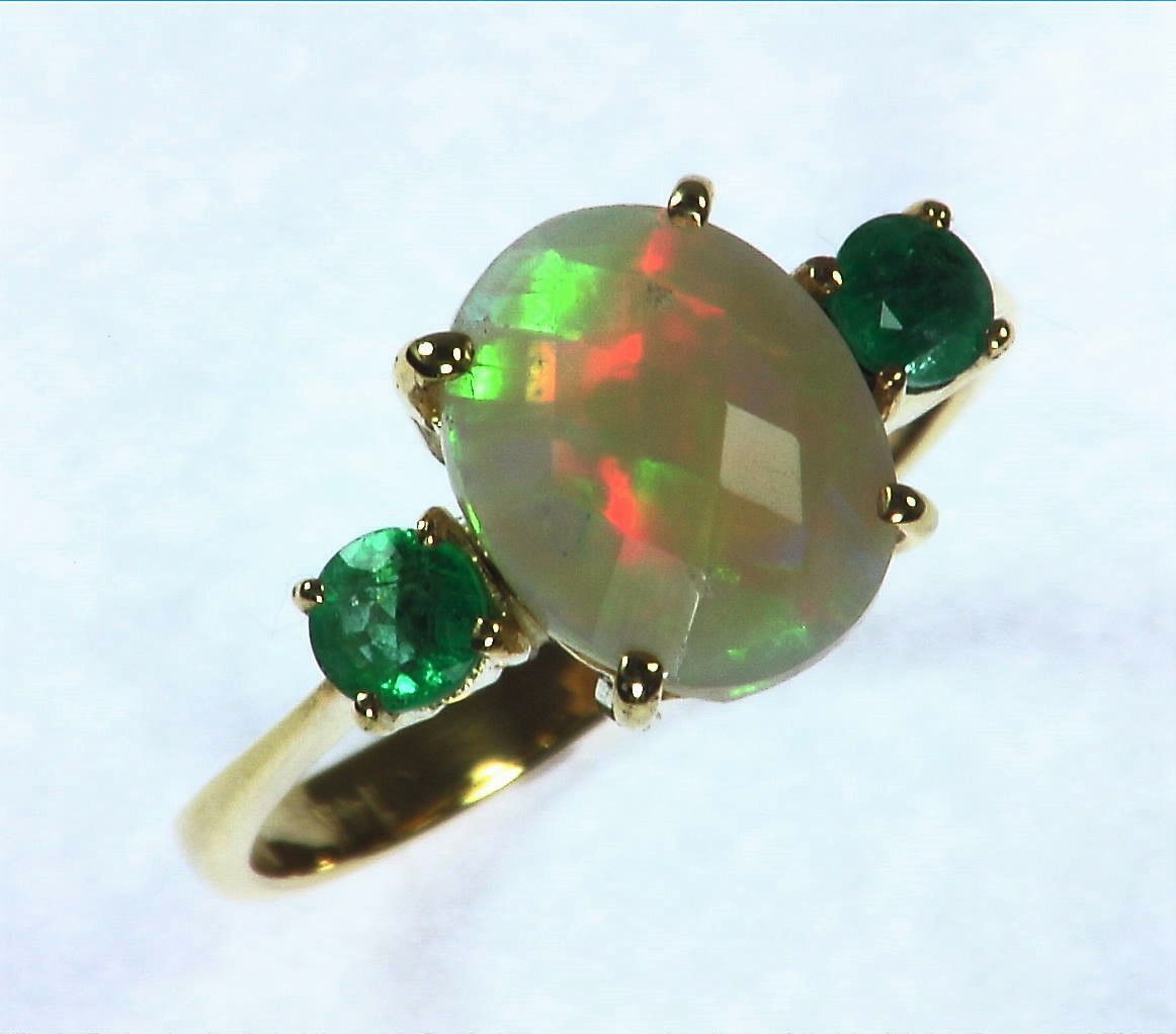 Opal Natural Genuine Gemstone set in 14kt yellow Gold Lady,s Ring RFK,295 2