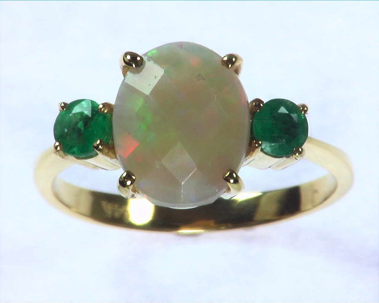Opal Natural Genuine Gemstone set in 14kt yellow Gold Lady,s Ring RFK,295 5