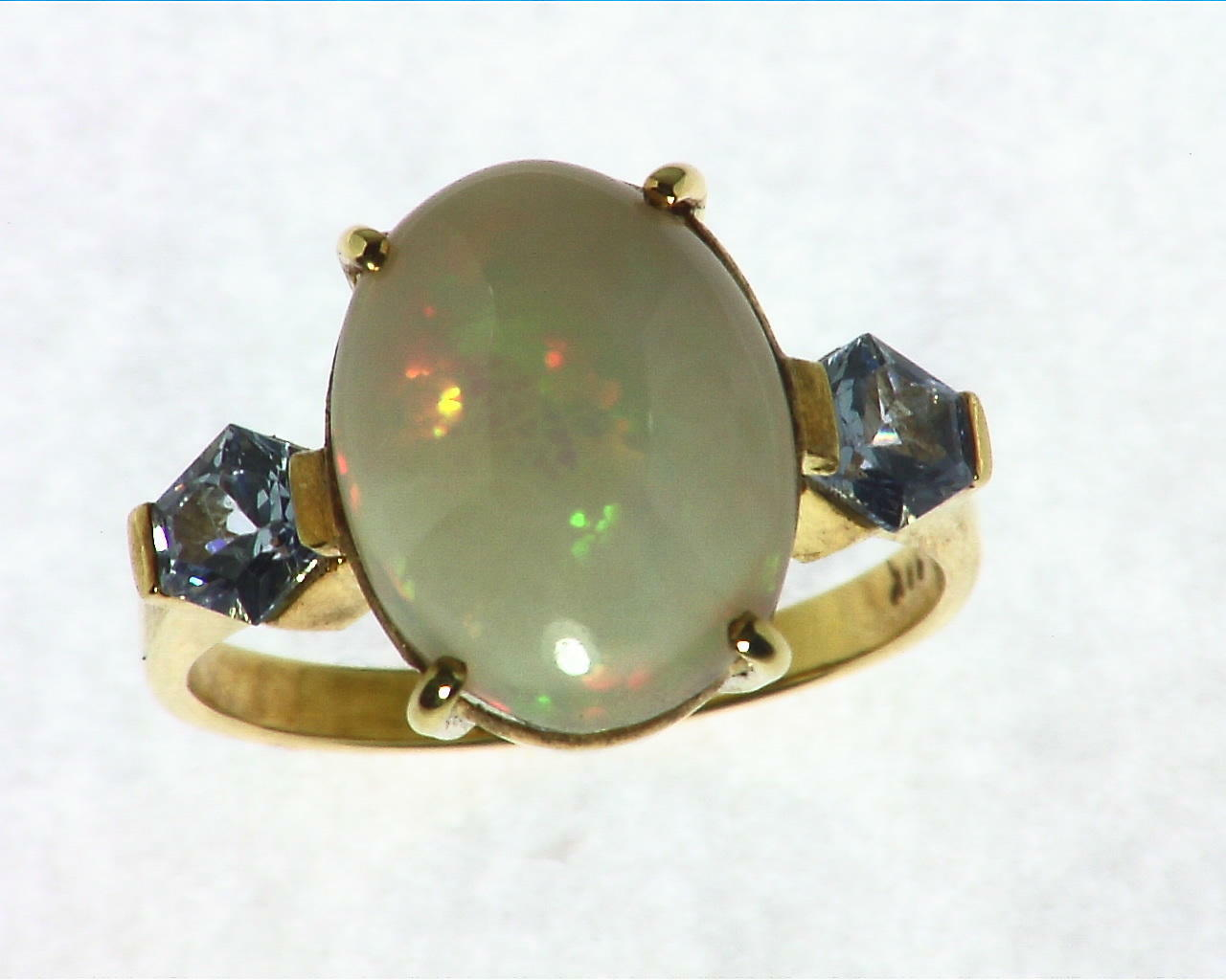 Opal Natural Genuine Gemstone set in 14kt yellow Gold Lady,s Ring RFK,297 1