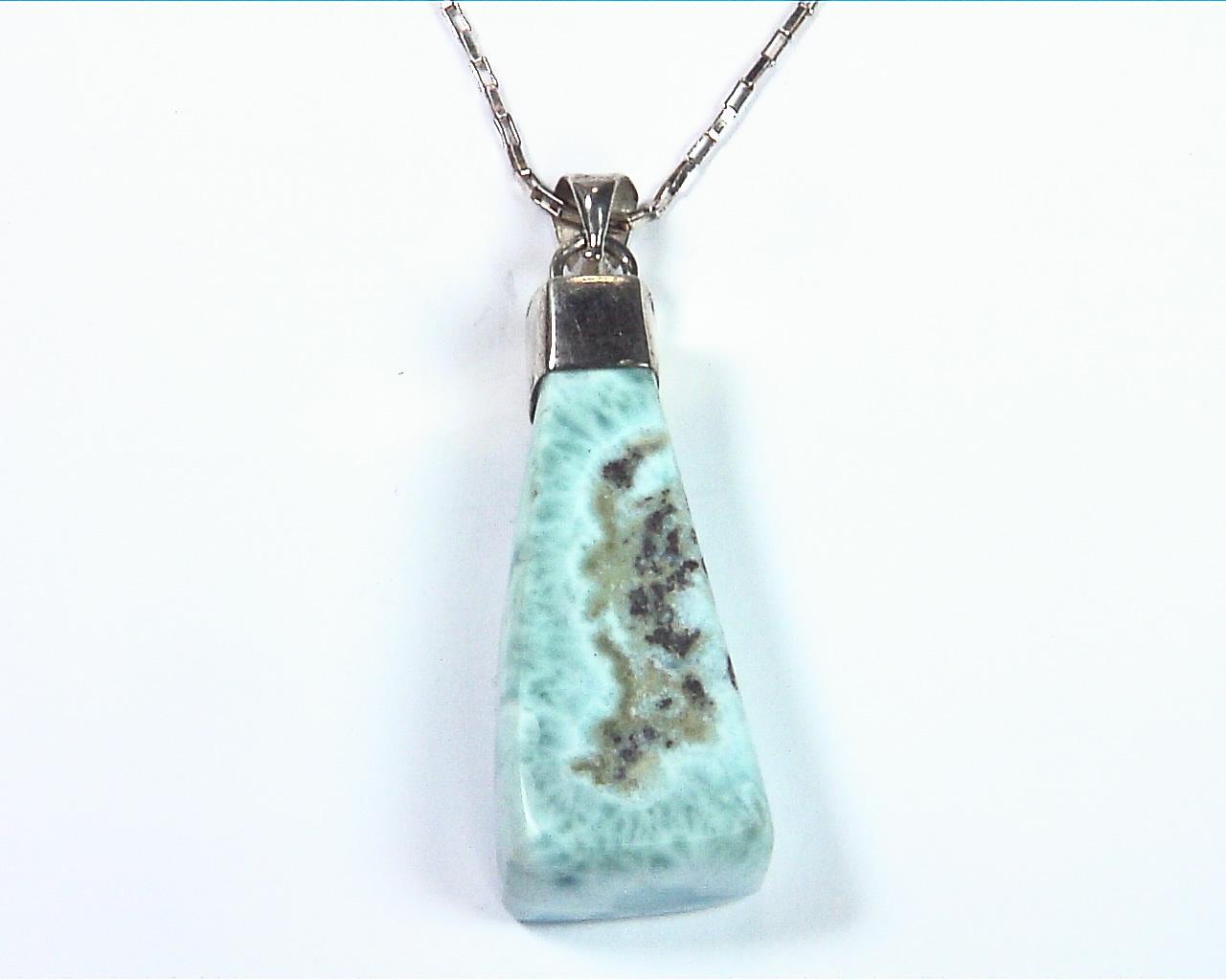 Larimar Natural Genuine Gemstone sterling Silver Pendent PSS,798