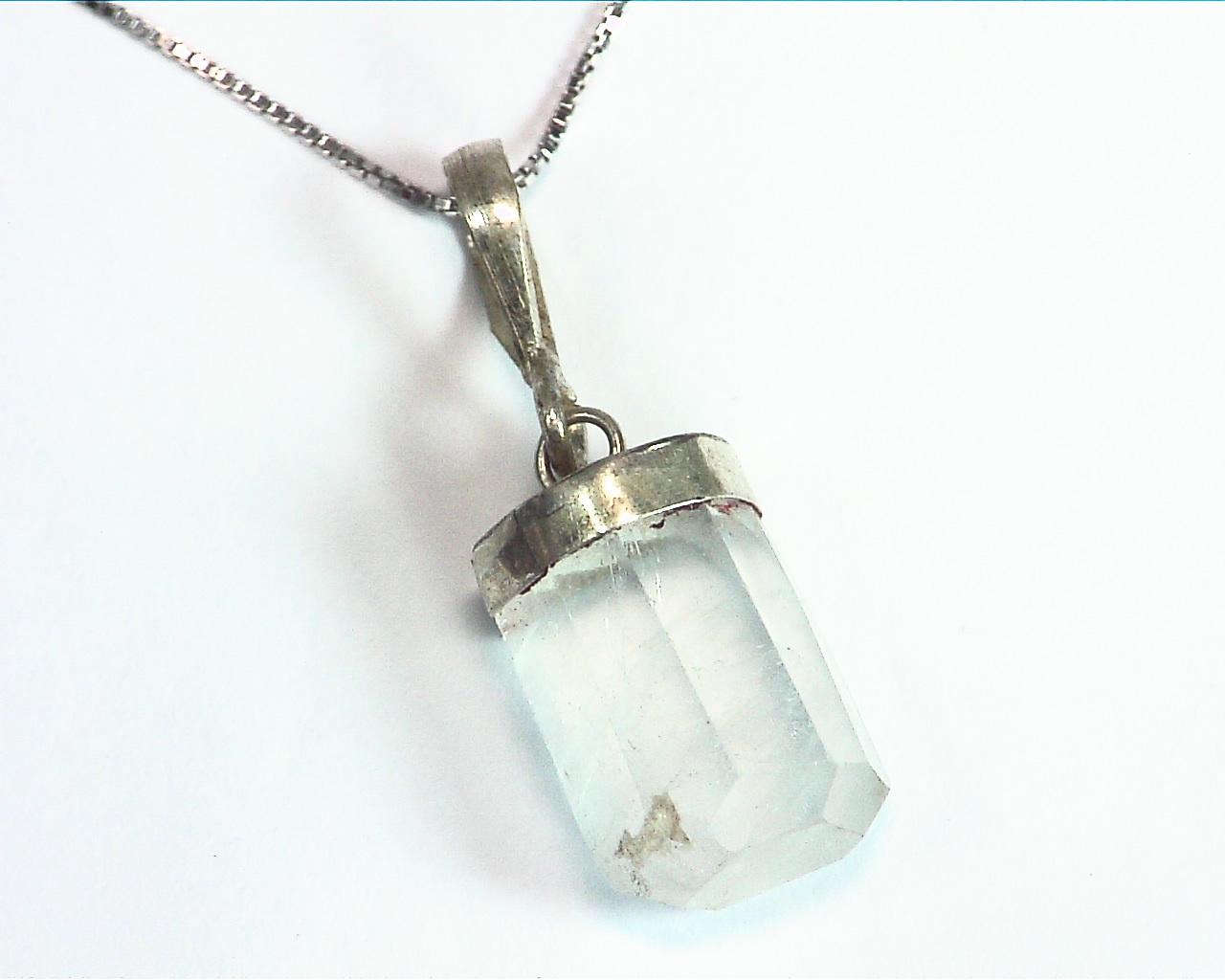 Aquamarine Natural Genuine Crystal sterling Silver Pendent PSS,845 5