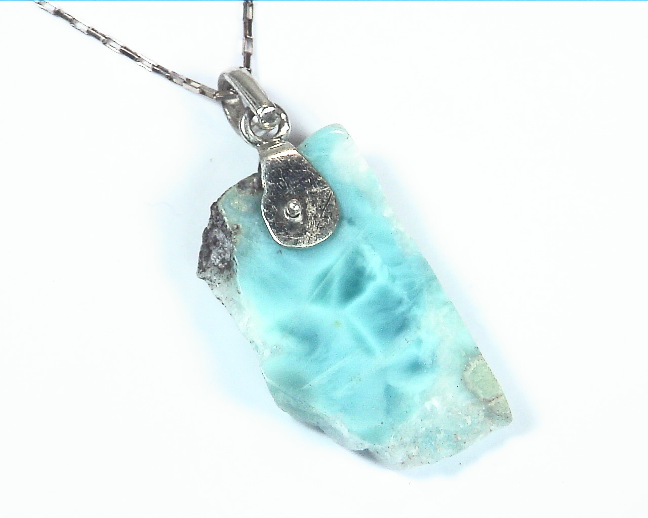 Larimar Natural Genuine Gemstone sterling Silver Pendent PSS,950 1