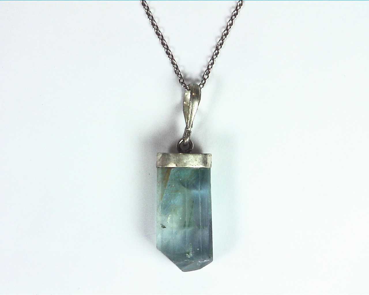 Fluorite Natural Genuine Gemstone Crystal Sterling Silver Pendent PSS,983 1