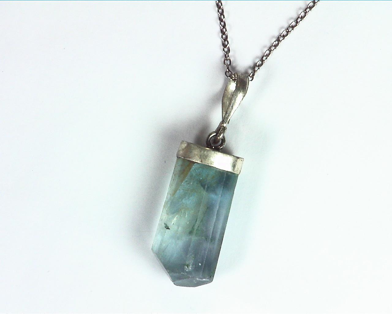 Fluorite Natural Genuine Gemstone Crystal Sterling Silver Pendent PSS,983 3