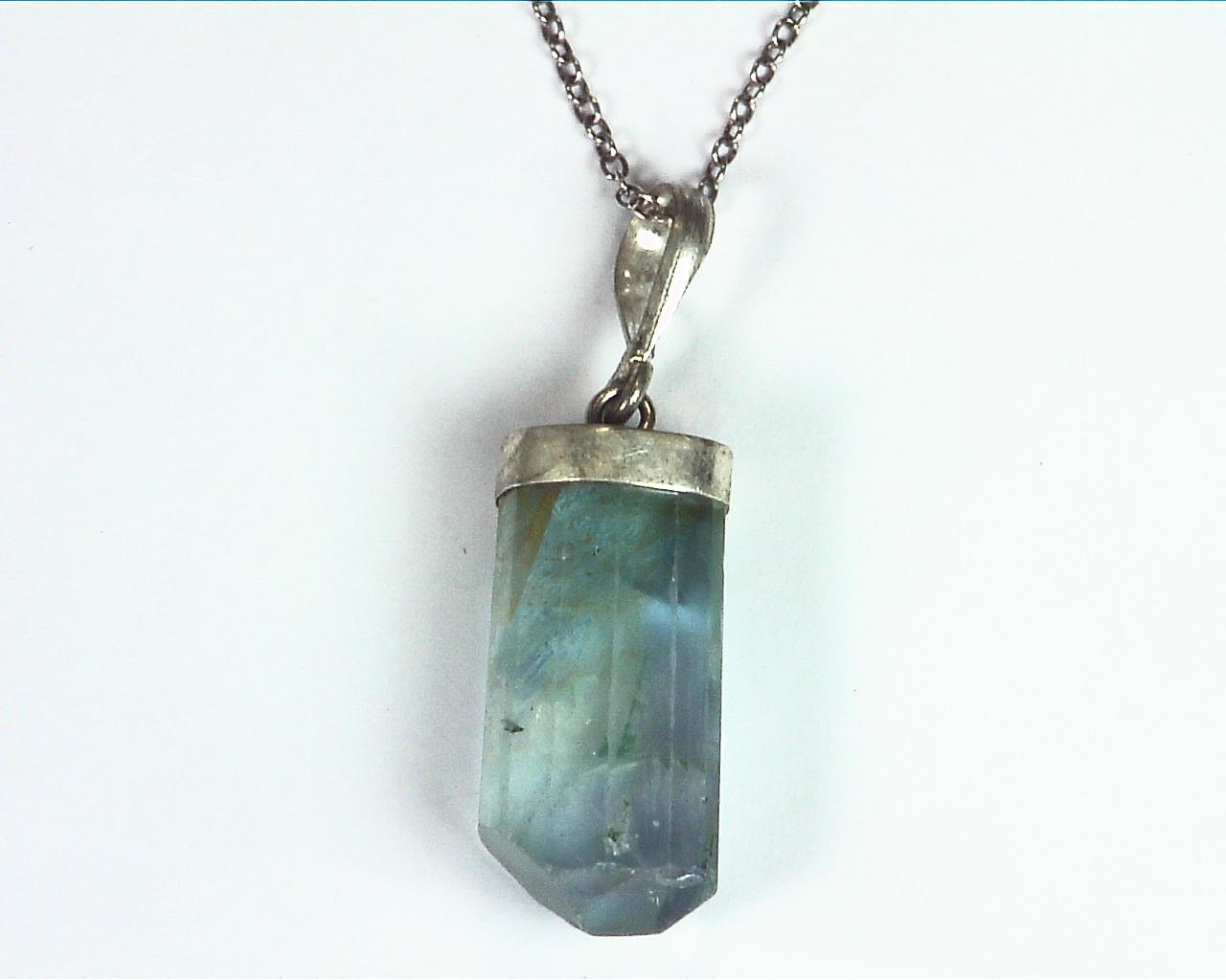 Fluorite Natural Genuine Gemstone Crystal Sterling Silver Pendent PSS,983 5