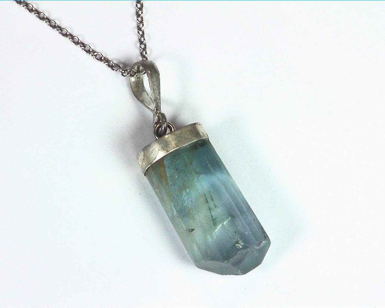 Fluorite Natural Genuine Gemstone Crystal Sterling Silver Pendent PSS,983 4