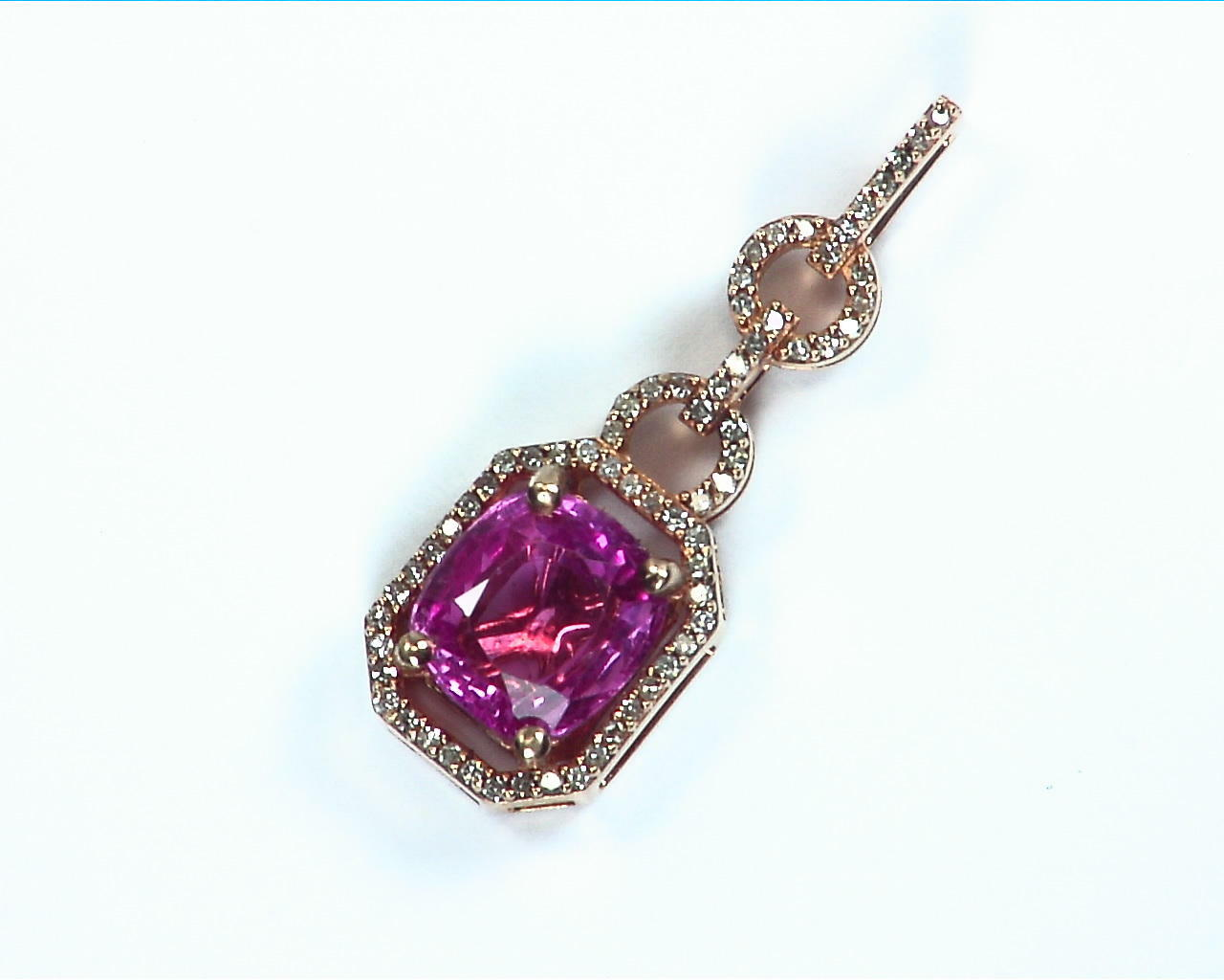 Pink Sapphire Gold Pendent