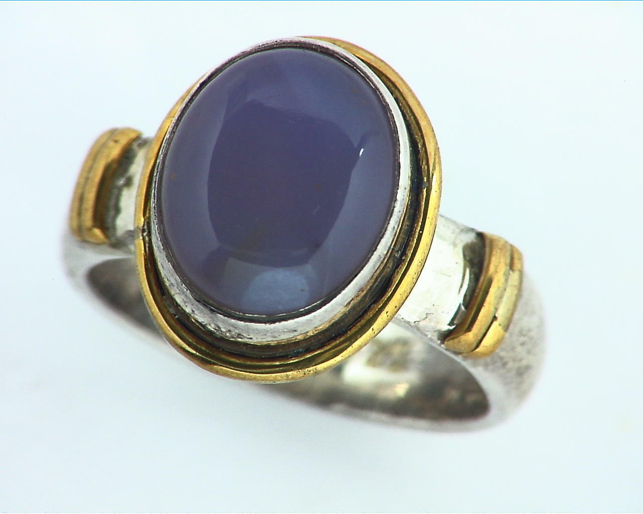 Chalcedony Sterling Silver, 14 kt Yellow Gold Lady,s Ring RFK156 3