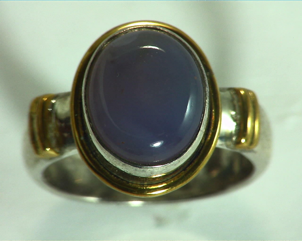 Chalcedony Sterling Silver, 14 kt Yellow Gold Lady,s Ring RFK156 4