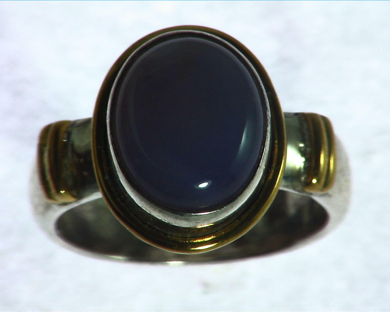 Chalcedony Sterling Silver, 14 kt Yellow Gold Lady,s Ring RFK156 7