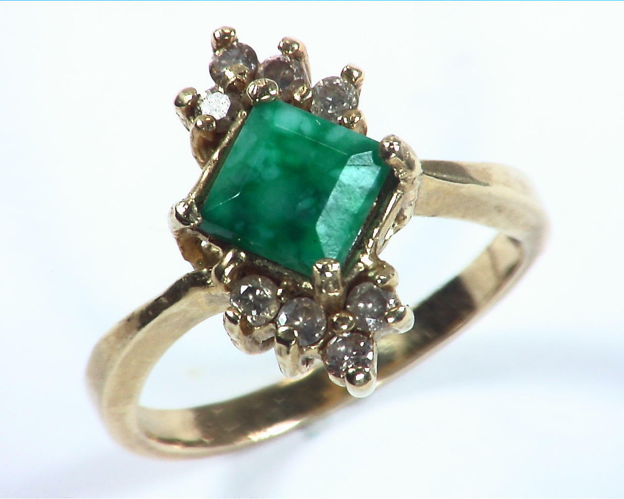 Emerald Natural Genuine Gemstone Gold And Diamond Ring RFK,158 2