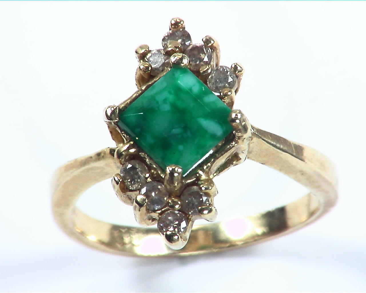 Emerald Natural Genuine Gemstone Gold And Diamond Ring RFK,158 3