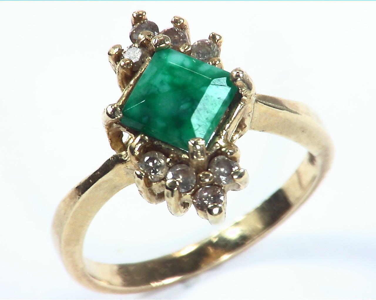 Emerald Natural Genuine Gemstone Gold And Diamond Ring RFK,158 5