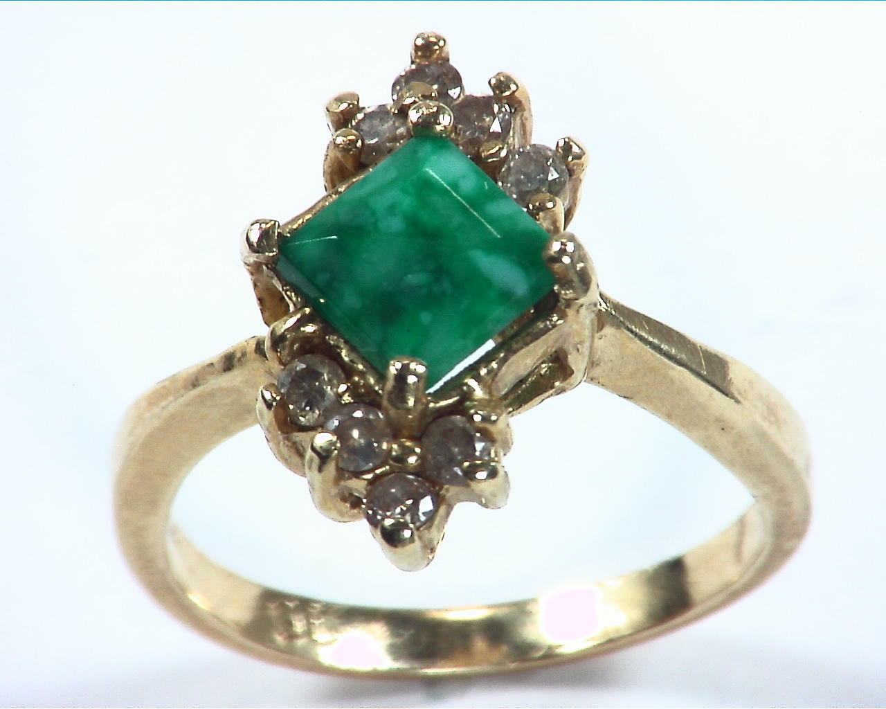Emerald Natural Genuine Gemstone Gold And Diamond Ring RFK,158 6