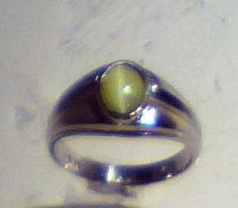 Cats Eye Natural Genuine Gemstone White Gold Mens Ring RFK,193 4