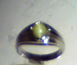 Cats Eye Natural Genuine Gemstone White Gold Mens Ring RFK,193 5