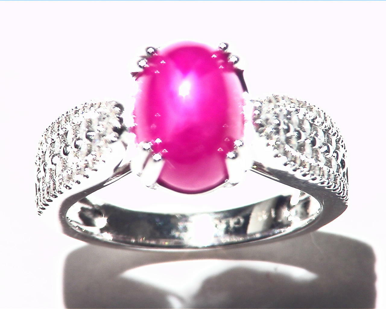 Star Ruby Natural Genuine Gemstone Diamond white gold Ring RFK,215