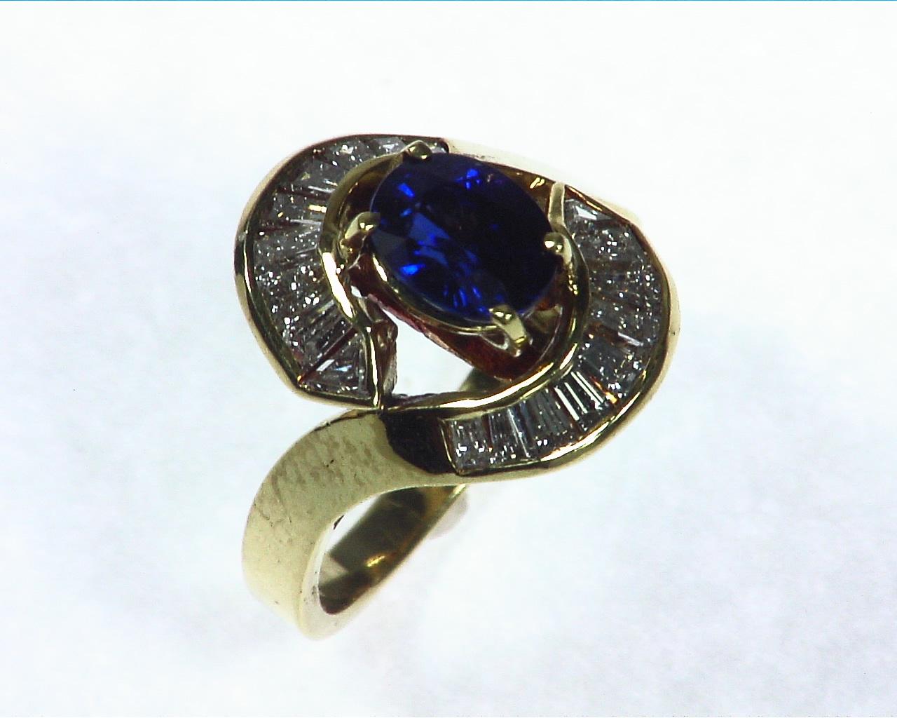 Blue Ceylon Sapphires Engagement Ring 18kt Lady,s Ring RFK,256 6
