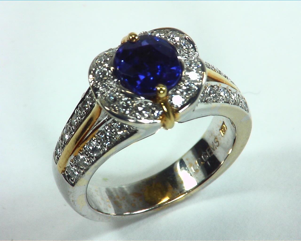 Blue Ceylon Sapphires Engagement Ring 18kt Lady,s Ring RFK,303 5