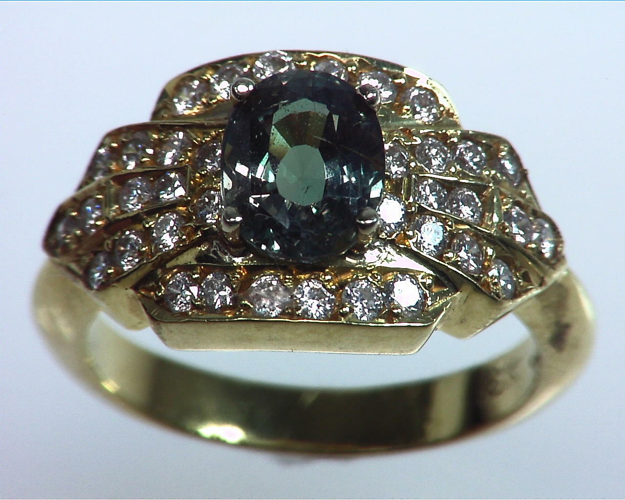 Alexandrite Natural Genuine Gemstone With Diamonds, Yellow Gold Ring RSS,309