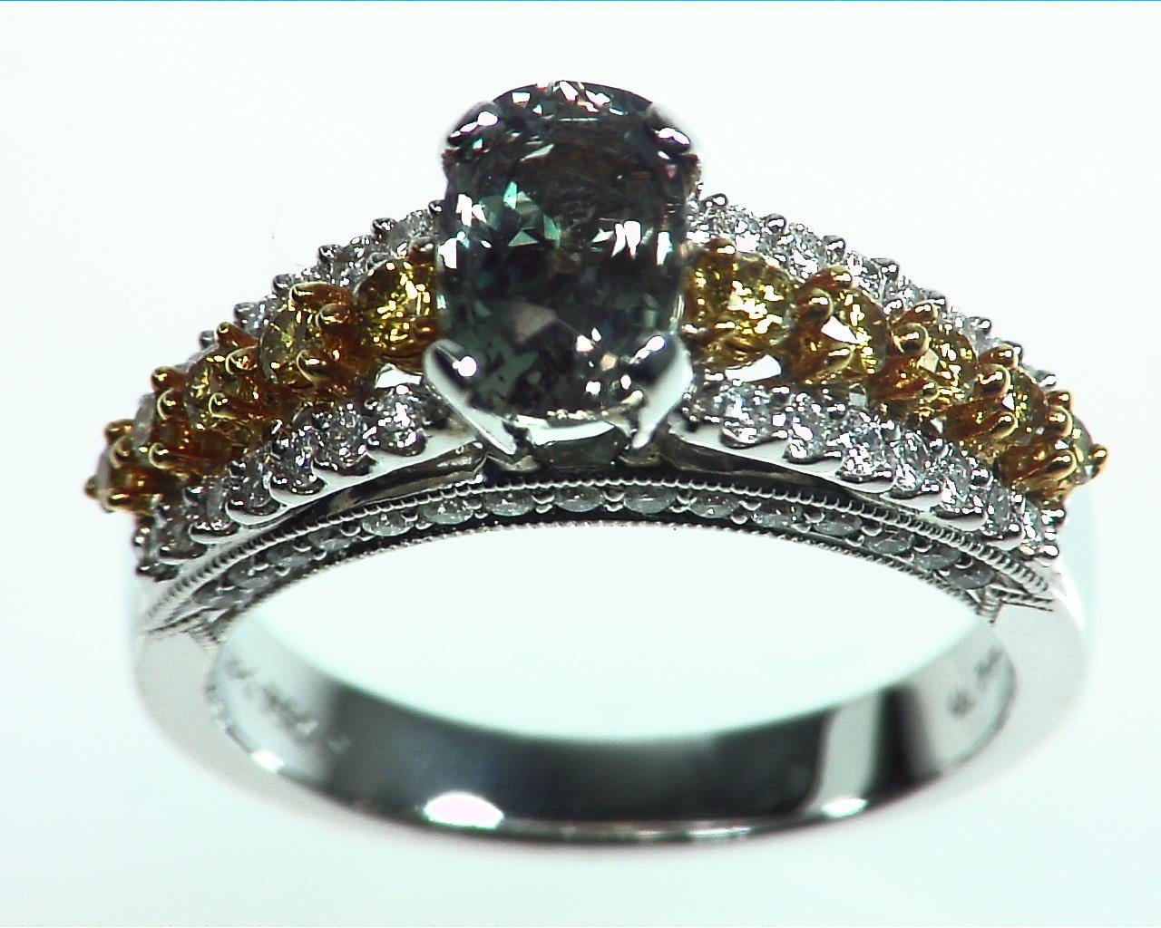 Alexandrite Natural Genuine Gemstone Diamond Yellow Gold Diamond Ring RSS,311