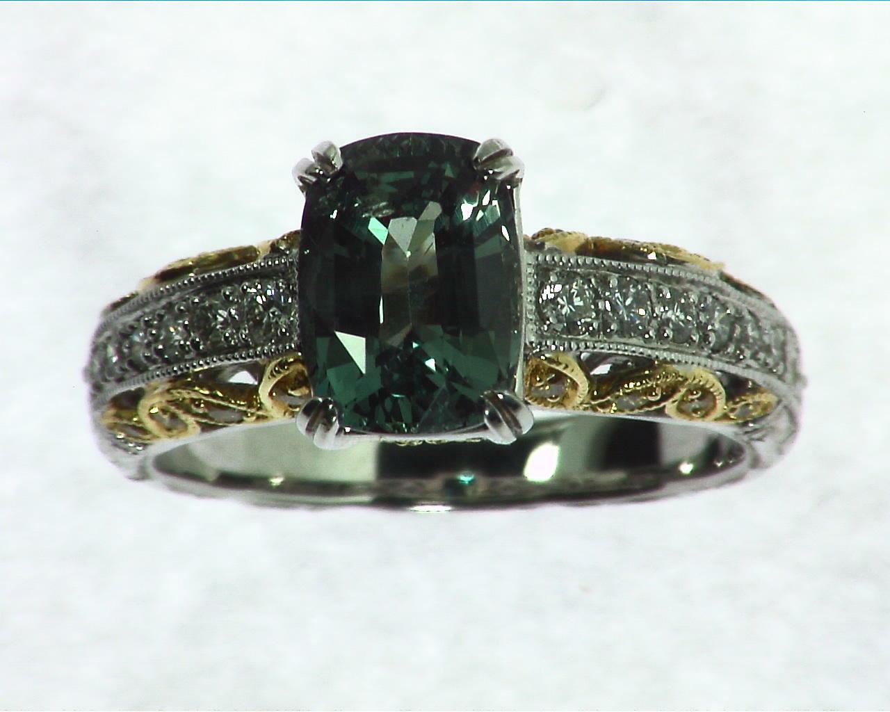 Alexandrite Natural Genuine Gemstone Diamond white Gold Diamond RFK,313