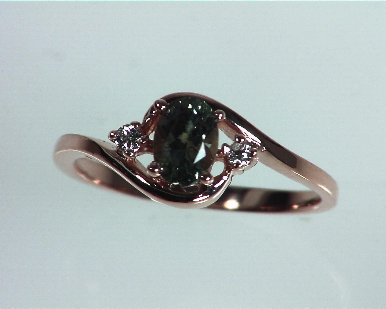 Alexandrite Natural Genuine Gemstone Diamond Rose Gold Lady,s Ring RFK329 3