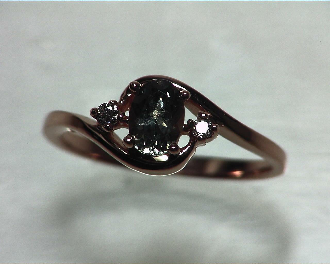Alexandrite Natural Genuine Gemstone Diamond Rose Gold Lady,s Ring RFK329 5