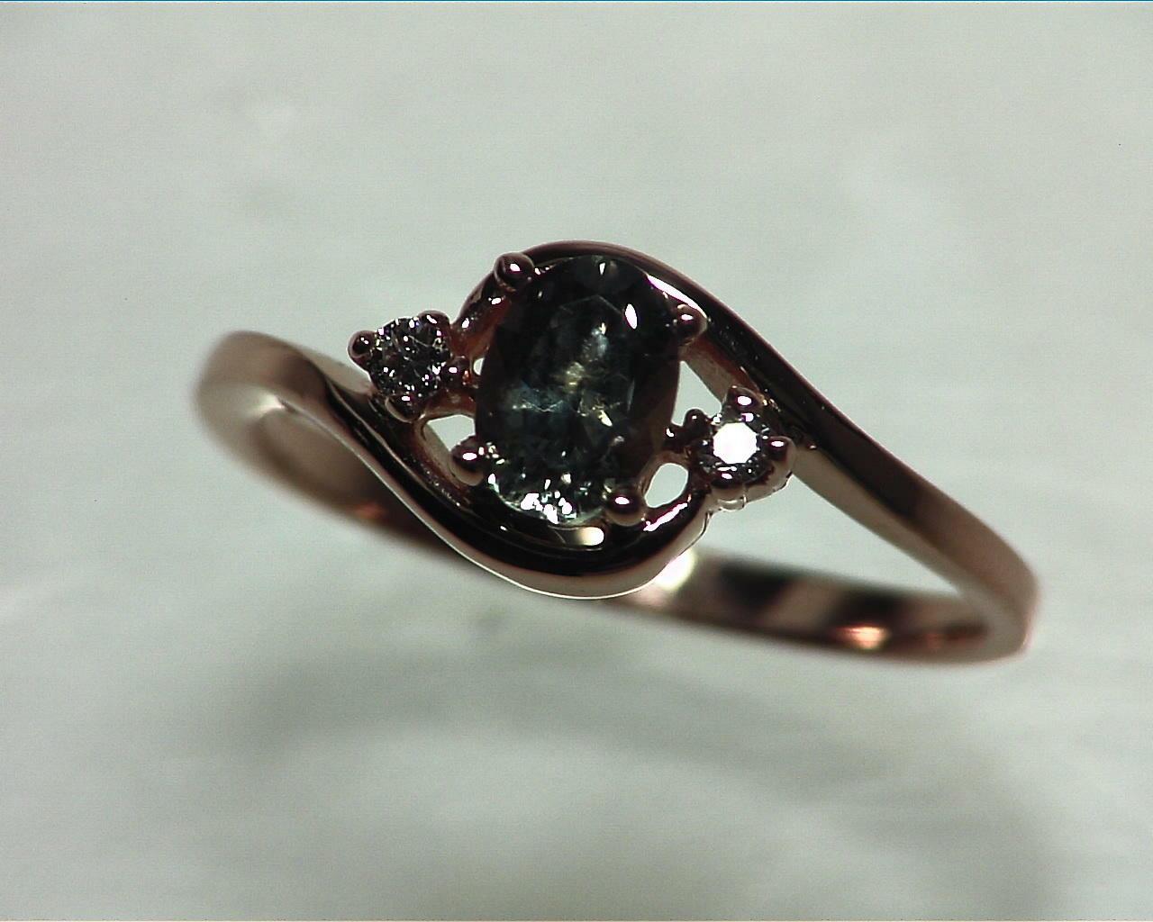 Alexandrite Natural Genuine Gemstone Diamond Rose Gold Lady,s Ring RFK329 4