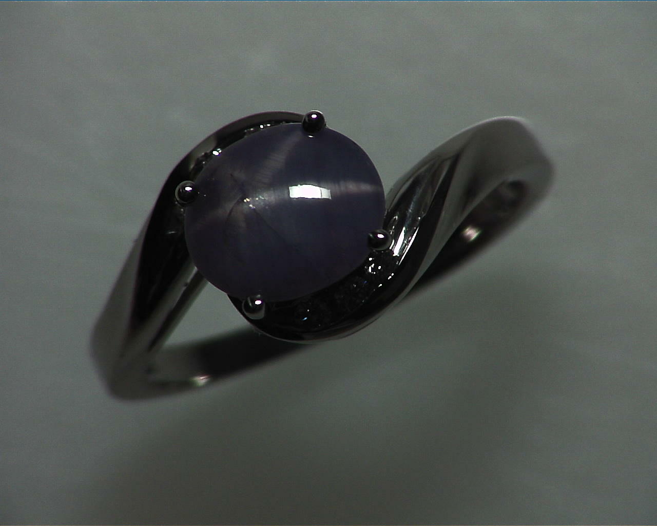 Blue Star Sapphire Natural Genuine Gemstone White Gold Lady,s Ring RFK,355