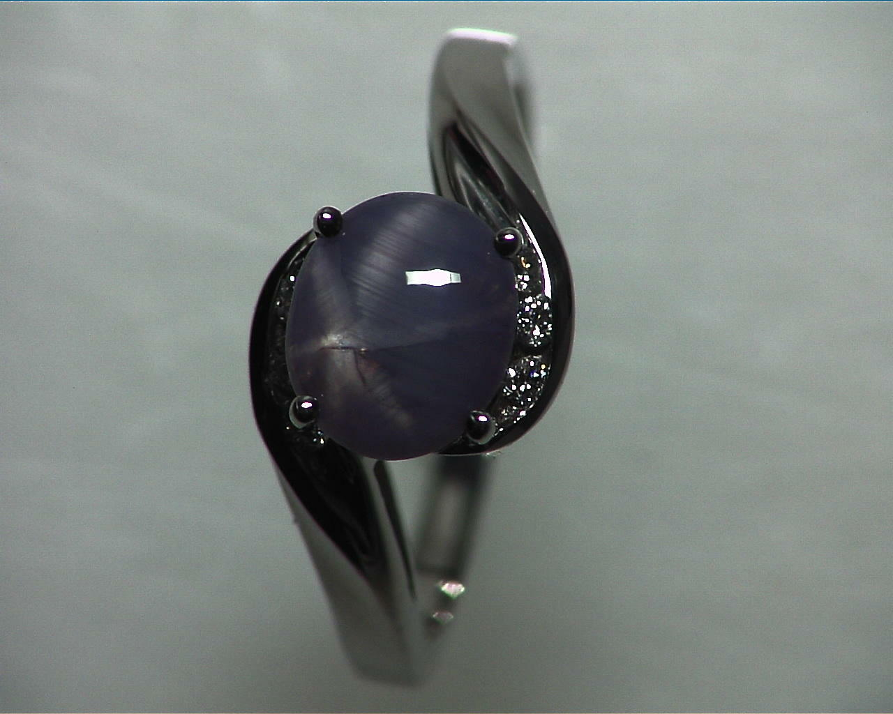 Blue Star Sapphire Natural Genuine Gemstone White Gold Lady,s Ring RFK,355 3