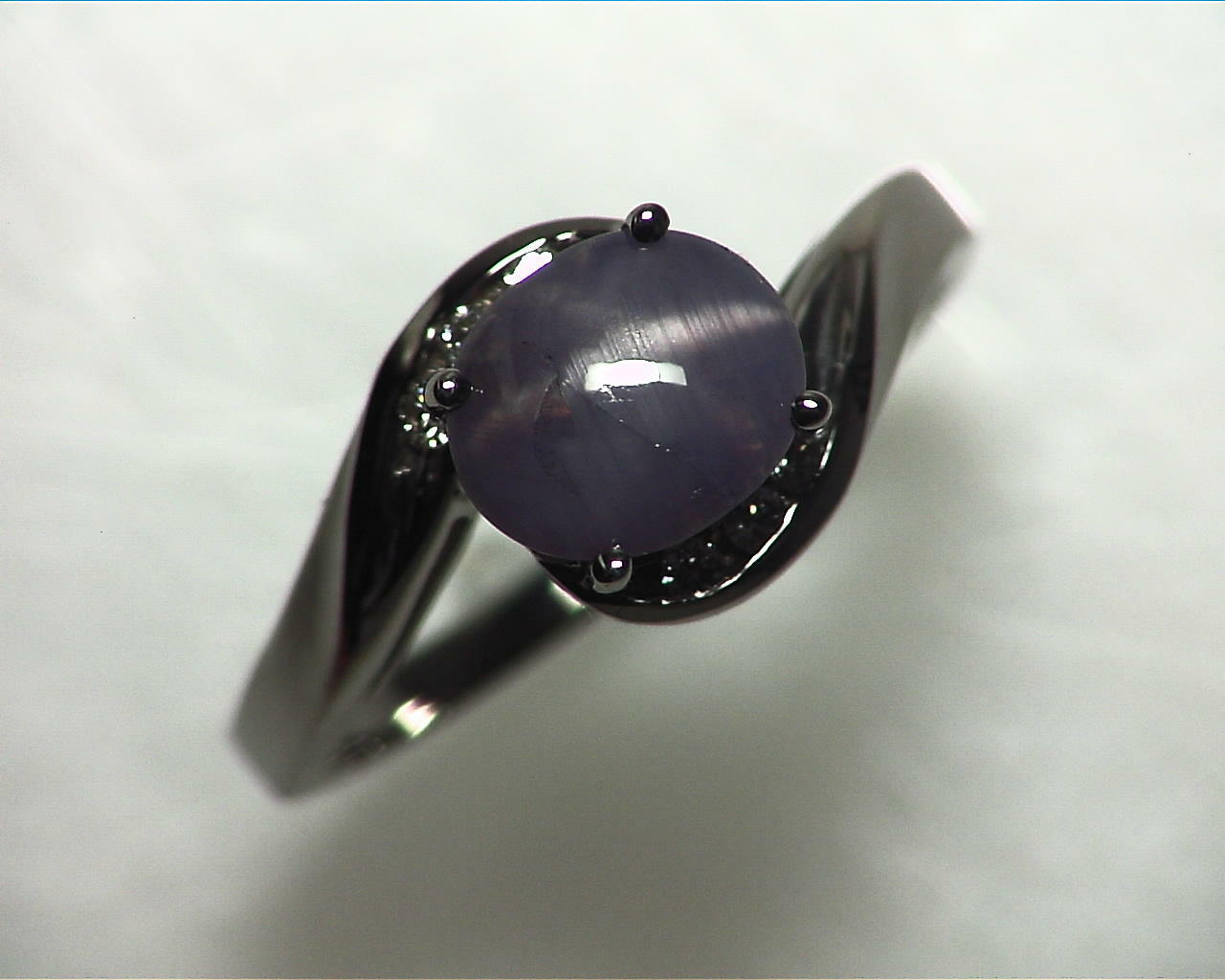Blue Star Sapphire Natural Genuine Gemstone White Gold Lady,s Ring RFK,355 5