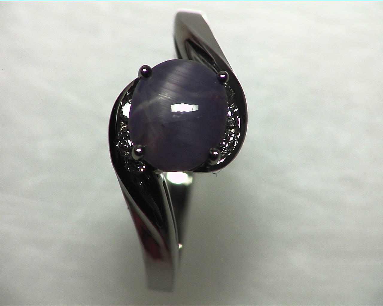 Blue Star Sapphire Natural Genuine Gemstone White Gold Lady,s Ring RFK,355 6