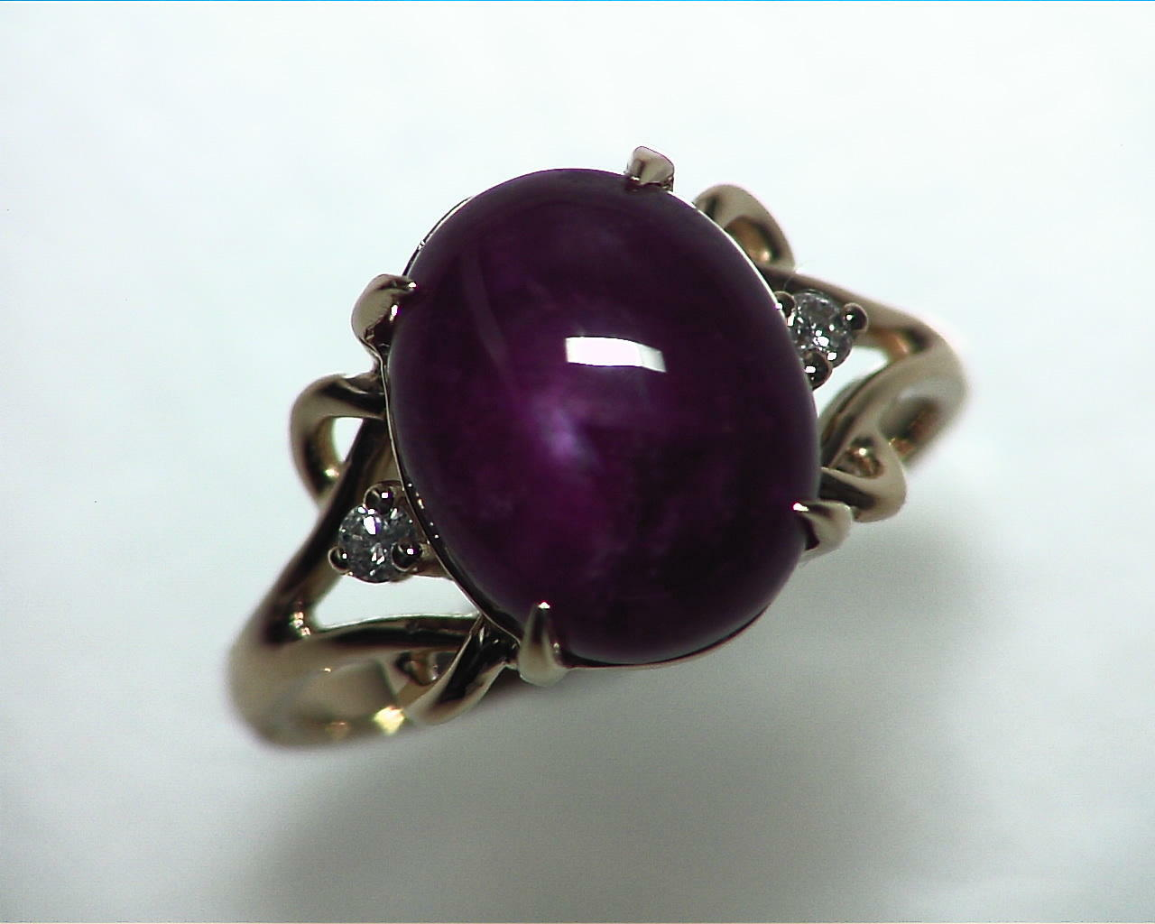 Star Ruby Natural Genuine Gemstone Ring in Gold RFK,341 3