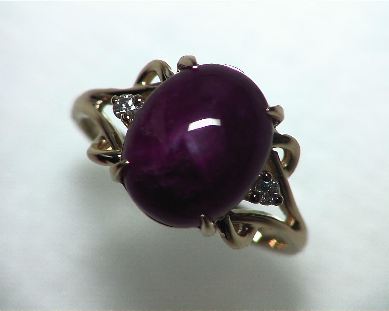 Star Ruby Natural Genuine Gemstone Ring in Gold RFK,341 4