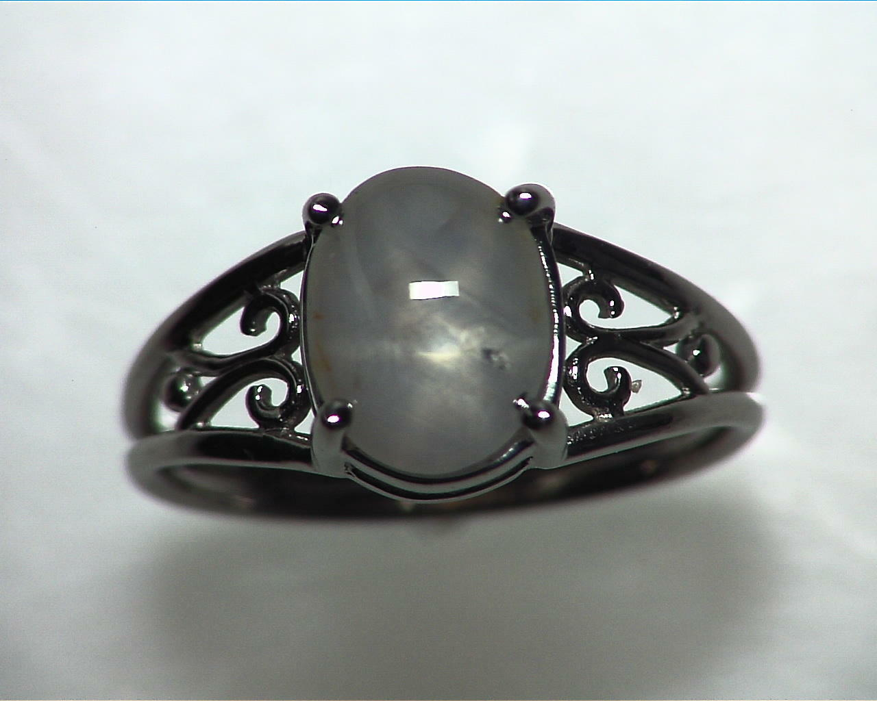 Star Sapphire Natural Genuine Gemstone White Gold Lady,s Ring RFK,342