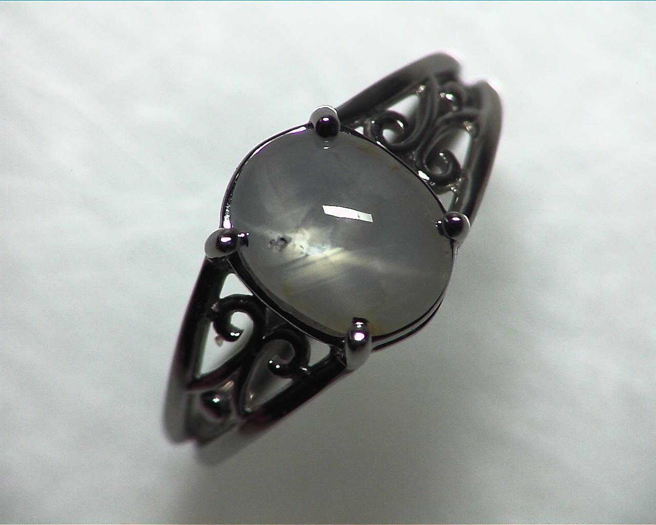 Star Sapphire Natural Genuine Gemstone White Gold Lady,s Ring RFK,342 3