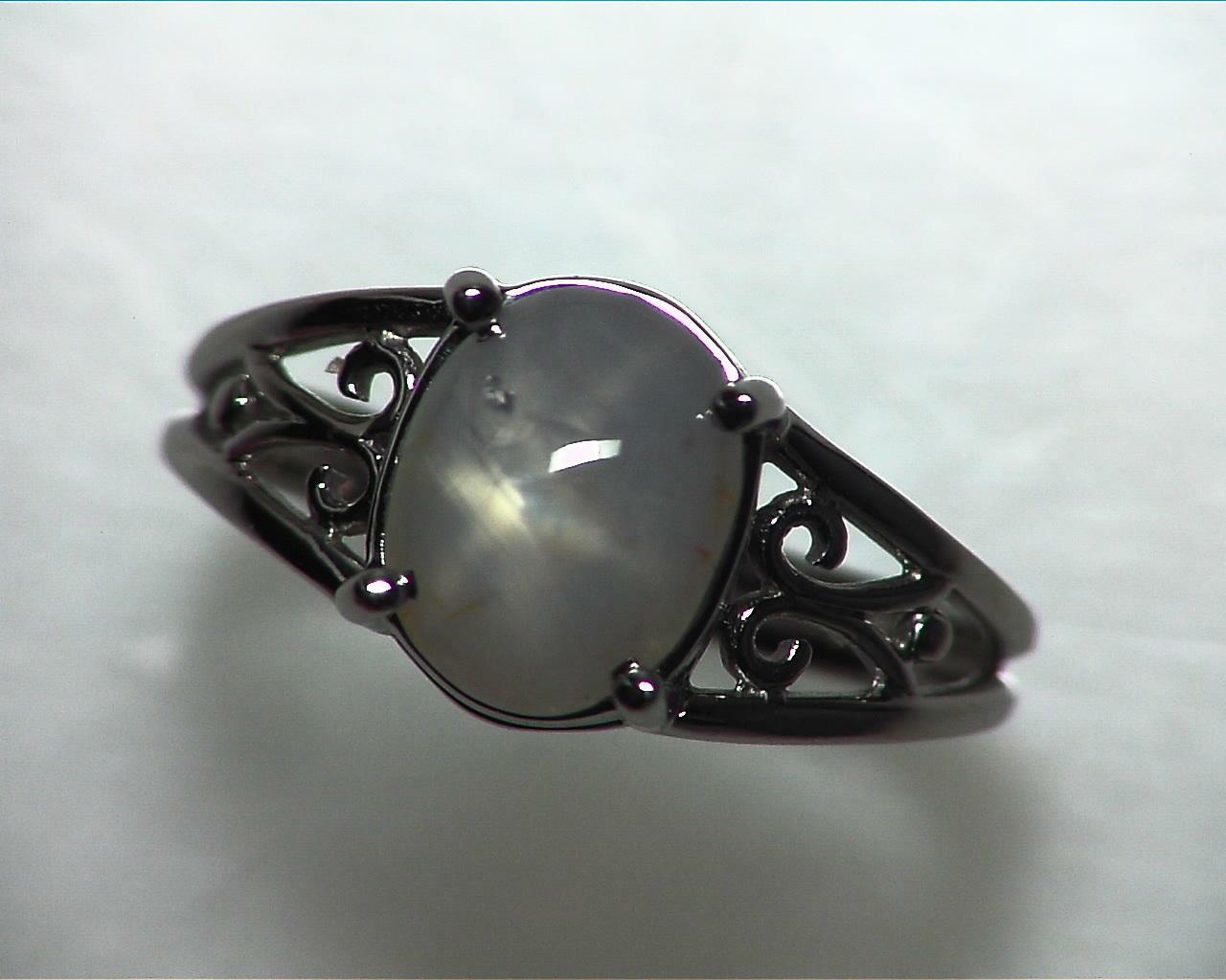 Star Sapphire Natural Genuine Gemstone White Gold Lady,s Ring RFK,342 4