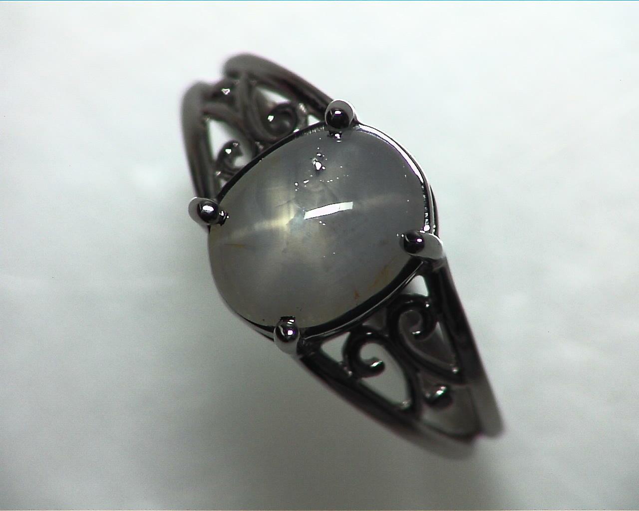Star Sapphire Natural Genuine Gemstone White Gold Lady,s Ring RFK,342 5