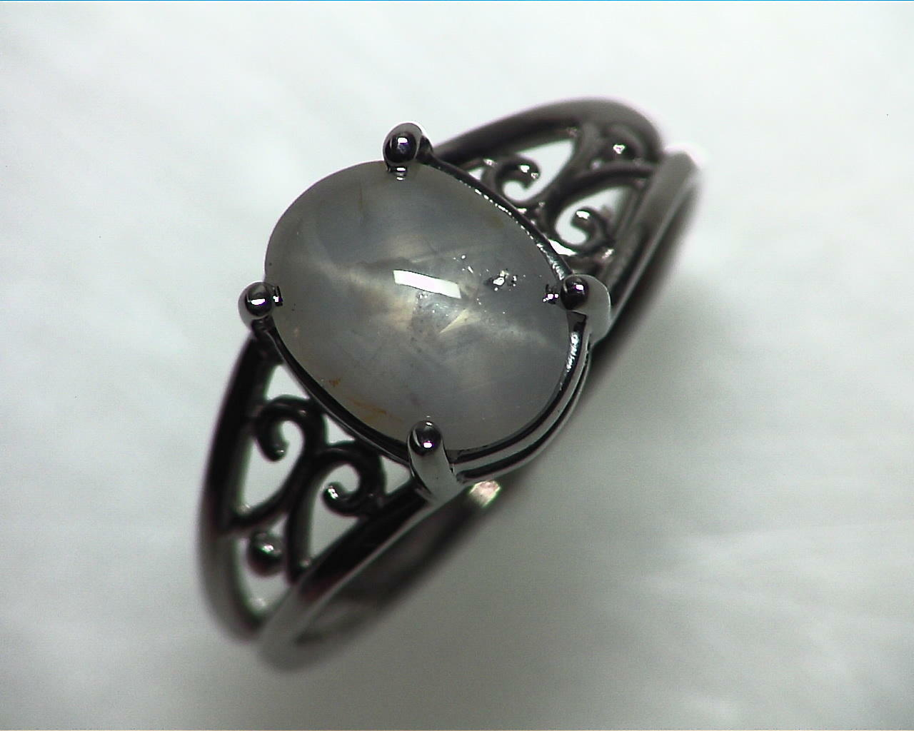 Star Sapphire Natural Genuine Gemstone White Gold Lady,s Ring RFK,342 6