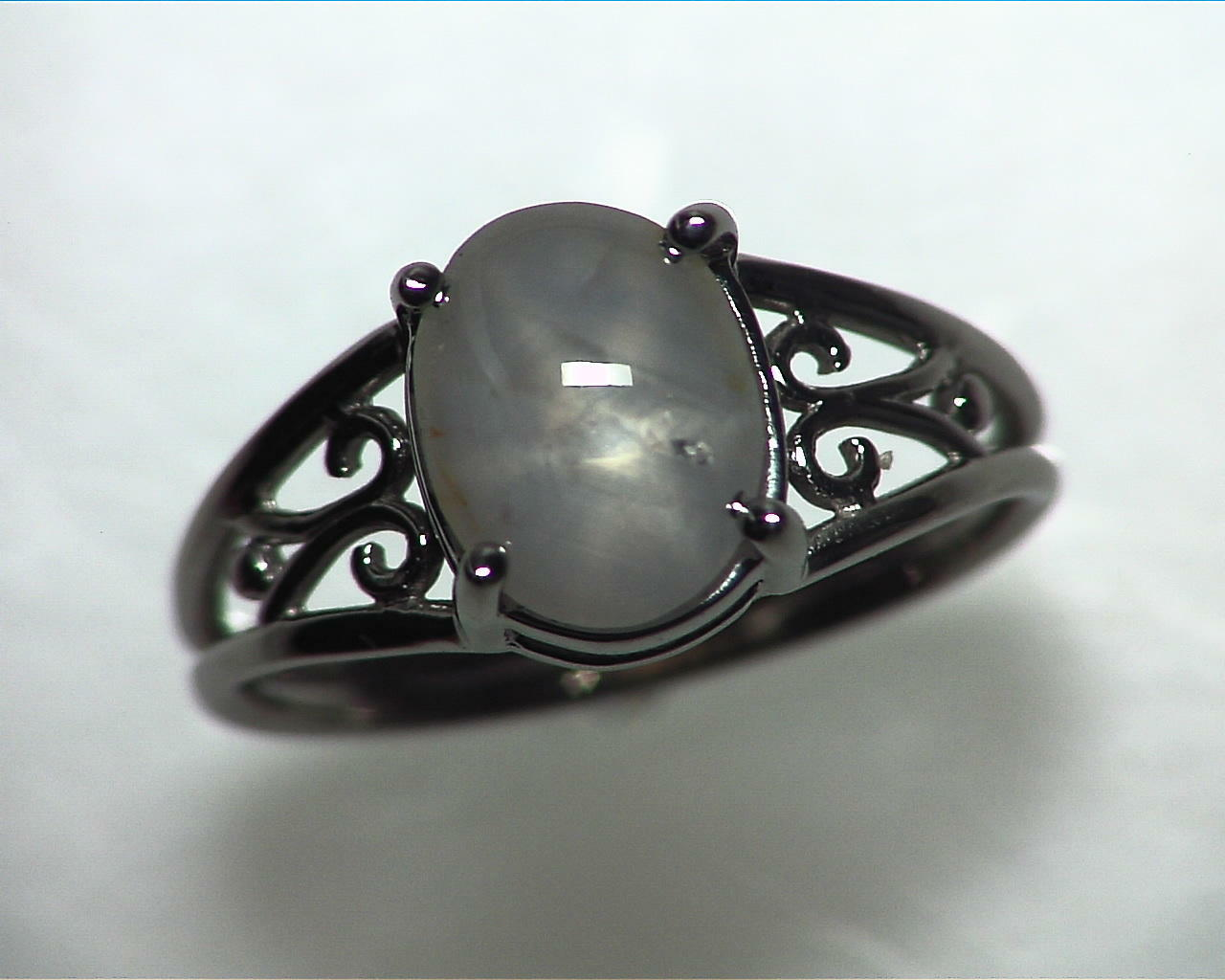 Star Sapphire Natural Genuine Gemstone White Gold Lady,s Ring RFK,342 7