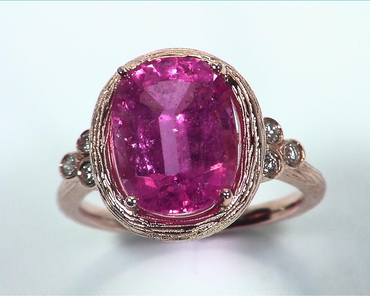 Pink Tourmaline Natural Genuine Gemstone Rose Gold Ring RFK,350