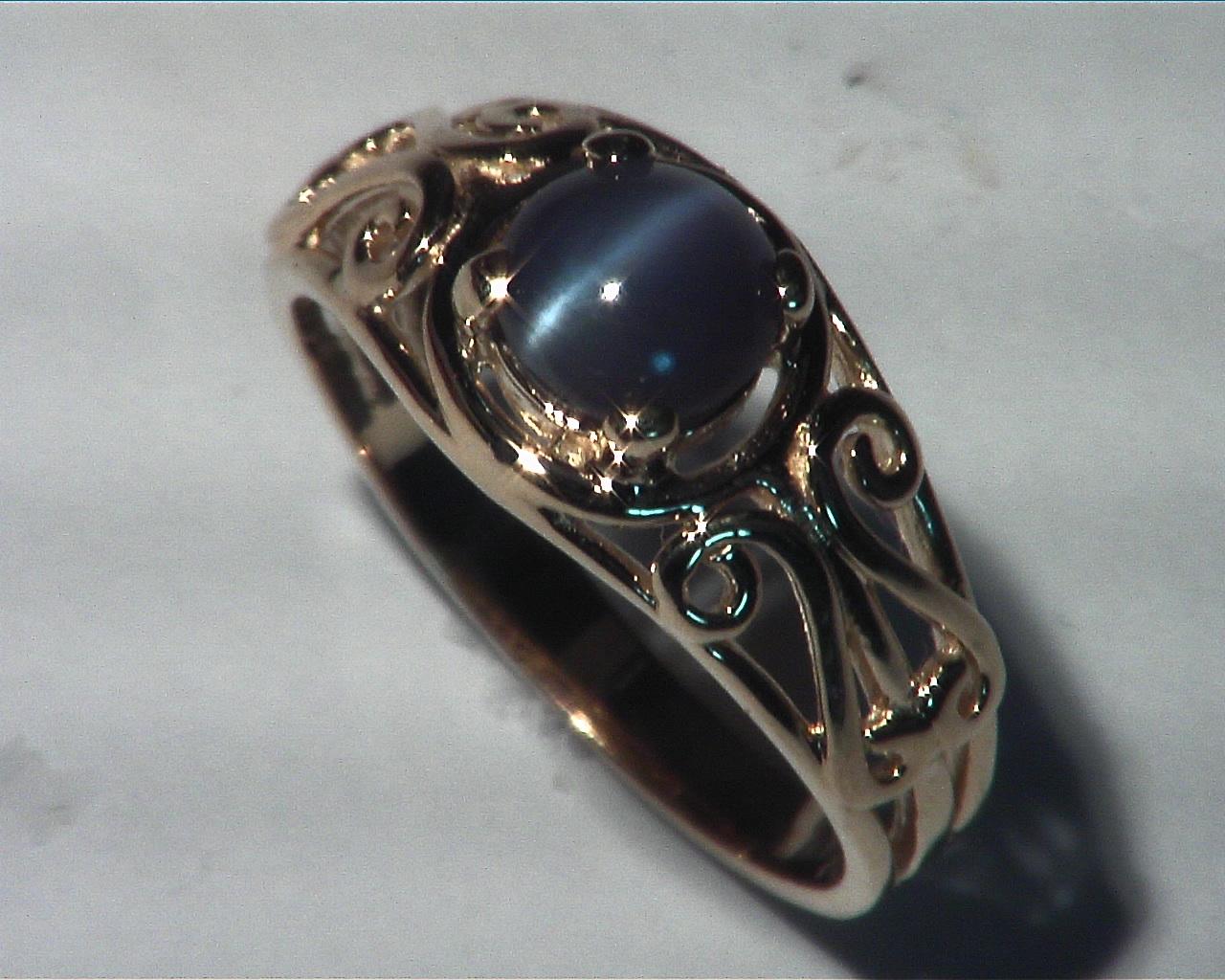 Alexandrite Cats, eye Genuine Gemstone Rose Gold Lady,s Ring RFK,359 3