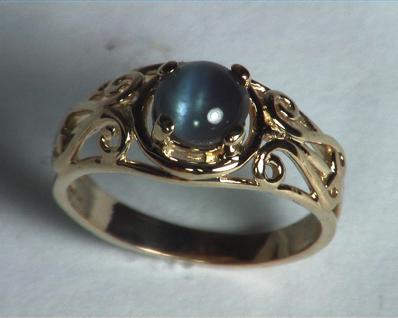 Alexandrite Cats, eye Genuine Gemstone Rose Gold Lady,s Ring RFK,359 5
