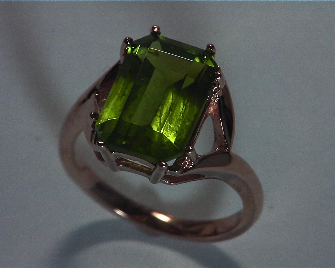 Peridot Natural Genuine Gemstone Rose Gold RingRFK,365